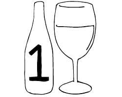 Small bottle of wine and glass