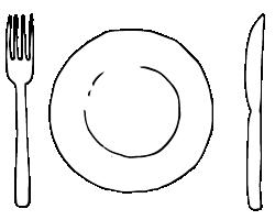 Plate, cutlery