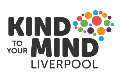 Kind to your mind Liverpool text and brain illustrated with dots
